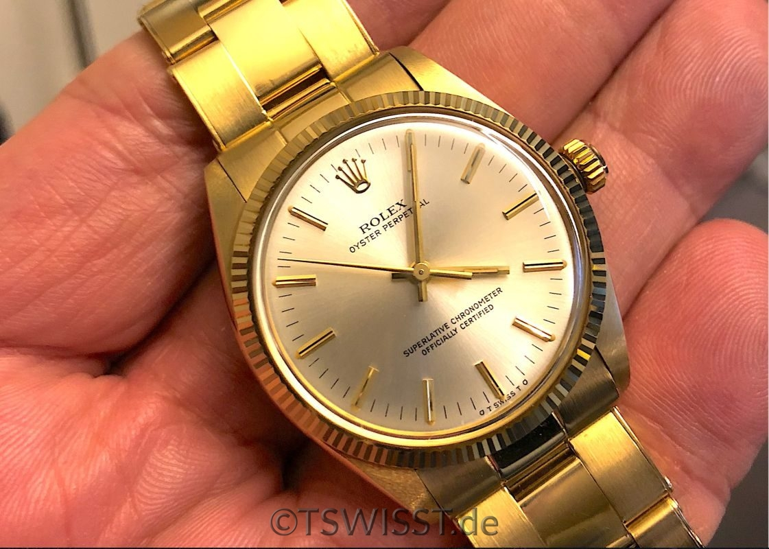 rolex oyster perpetual 1005 vollgold 18k t swiss t the missing piece. Black Bedroom Furniture Sets. Home Design Ideas